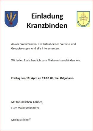 Plakat zum Kranzbinden des Maibaums 2013