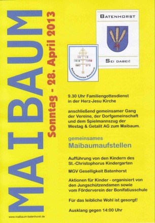 Plakat zum Maibaum aufstellen 2013