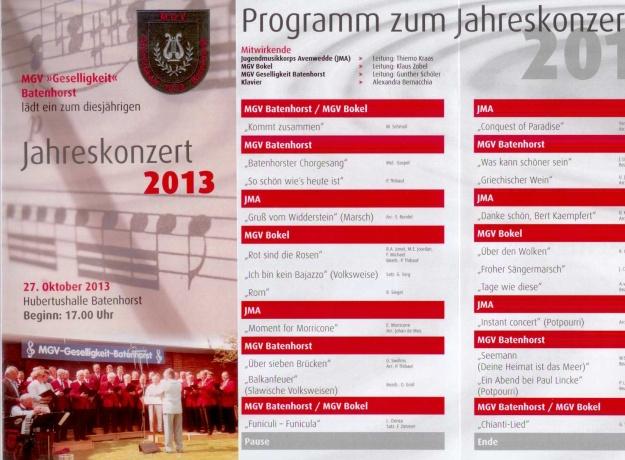 Flyer zum Konzert des MGV am 27.10.2013